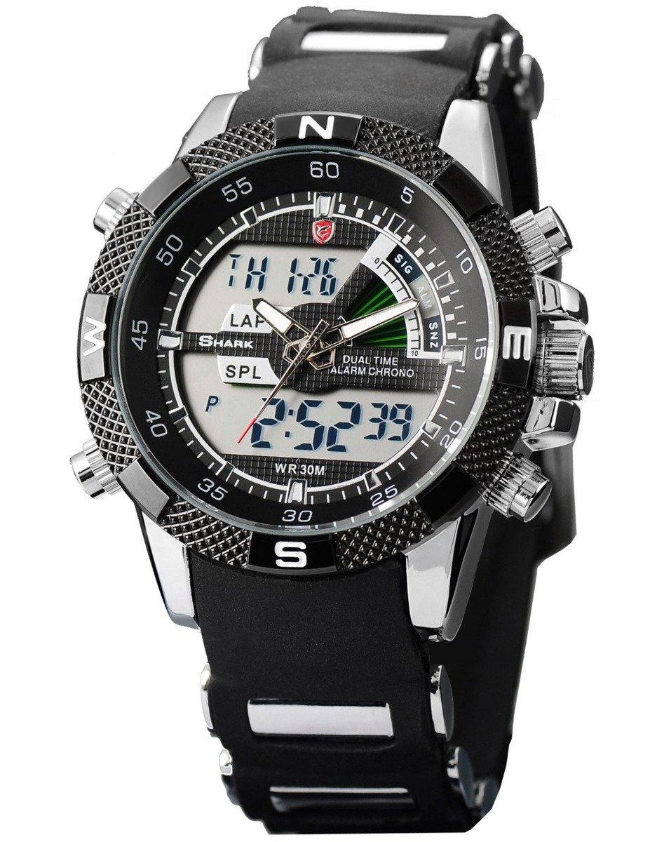 Shark Men's Military Sport Digital Wrist Watch Alarm LCD Dual Movement Day Date Stopwatch Black SH042