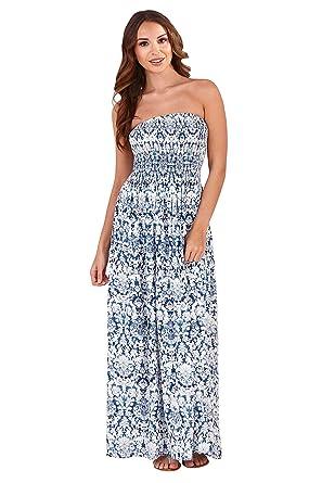 b1bad252c Pistachio Womens Designer Maxi Bandeau Summer Dress: Amazon.co.uk: Clothing