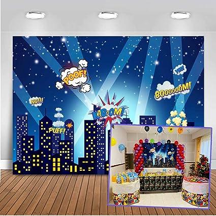 Mehofoto superhéroe telón de fondo 7x5ft paisaje urbano dibujos animados edificios altos telones de fondo de fotos sin fisuras para niños fiesta ...