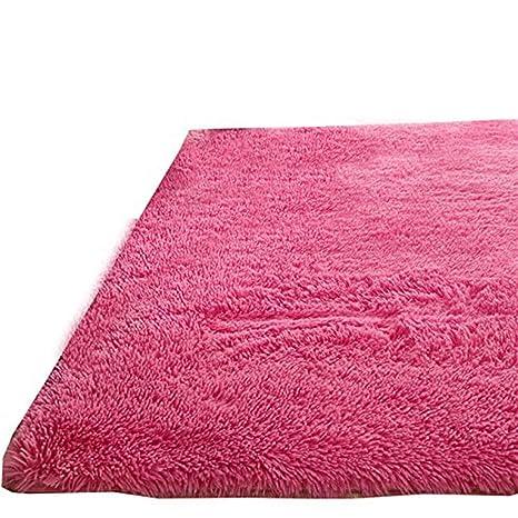 Alfombra Eureya con base antideslizante, suave y moderna, para salas de estar, dormitorios infantiles y guarderías, poliéster, rojo rosado, 120 x 160 ...
