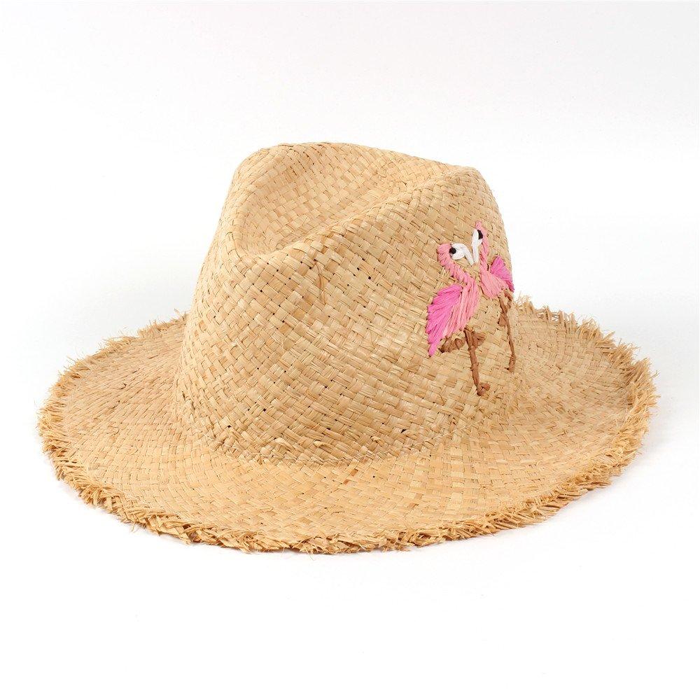 BEIXI 100/% Raffia Straw Summer Women Diskette Broad Brim Beach Sun Hat with Handwork Embroidery Bird Panama Sunbonnet