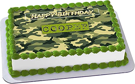 Phenomenal Amazon Com Camouflage Edible Cake Image Topper Personalized Funny Birthday Cards Online Overcheapnameinfo
