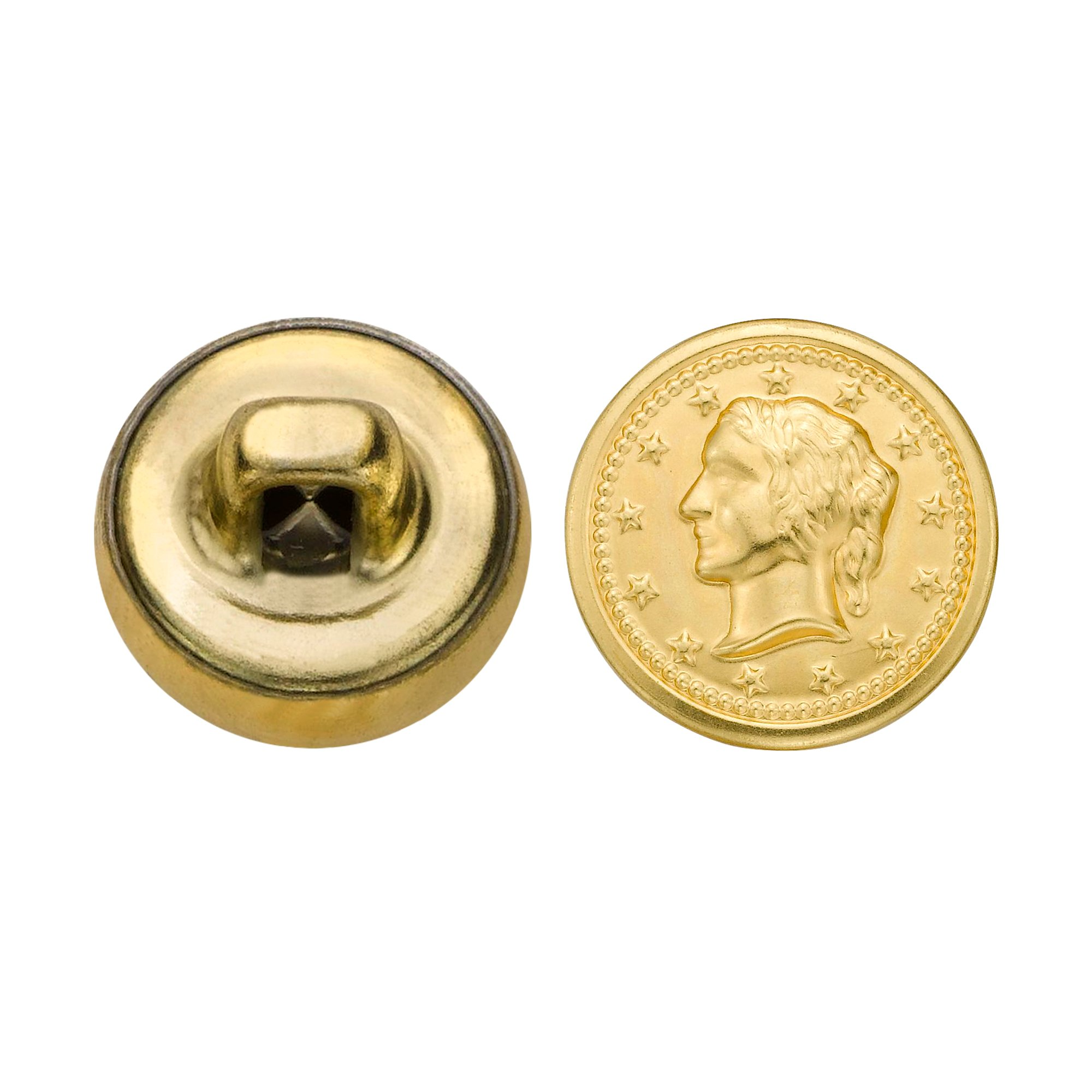C&C Metal Products 5328 Lady Head Coin Metal Button, Size 20 Ligne, Gold, 144-Pack
