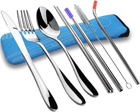 JEZOMONY Juego de Cubiertos de Acero Inoxidable de 10 Piezas, Cuchillo, Tenedor, Palillos, Palillos y Estuche para Viajar de Picnic.