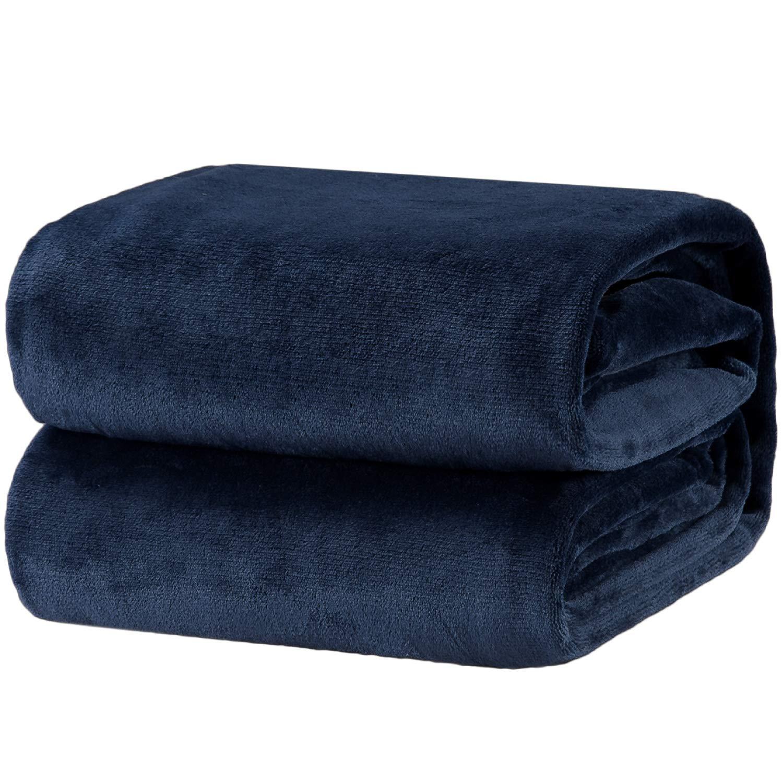 Bedsure Fleece Blanket Throw Size Navy Lightweight Super Soft Cozy Luxury Bed Blanket Microfiber by Bedsure