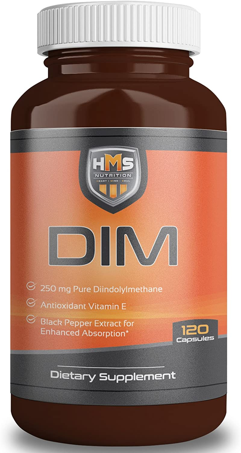 HMS Nutrition 250mg DIM Antioxidant Vitamin E with Black Pepper BioPerine for Enhanced Absorption Along with 200mg of Dong Quai