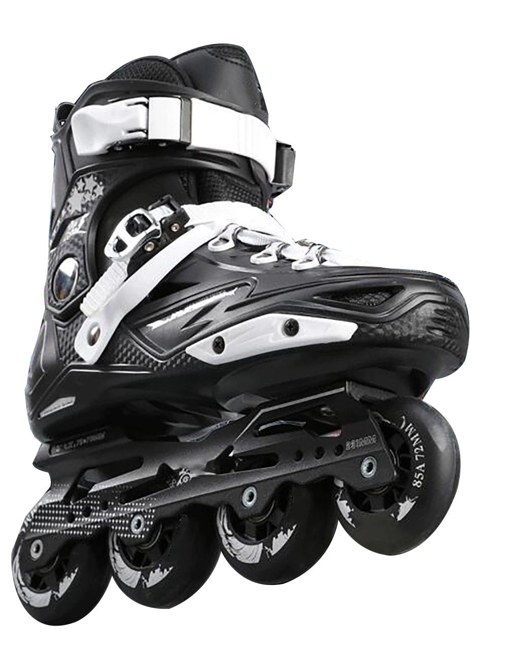 Inline Skates For Men Unisex Racing PP Material 3D Aluminum Alloy Bracket PVC High Elasticity PU Wheels Black-White , 43