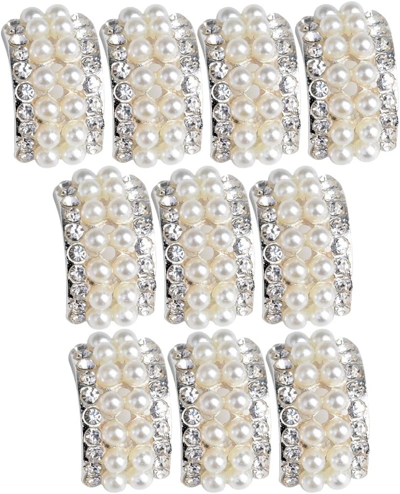 20 Pieces Pearl Crystal Rhinestone Buttons Arc Shaped Flatback Embellishments Buttons for Wedding Bouquet Decoration DIY Hair Bow Jewelry Craft Accessoreis