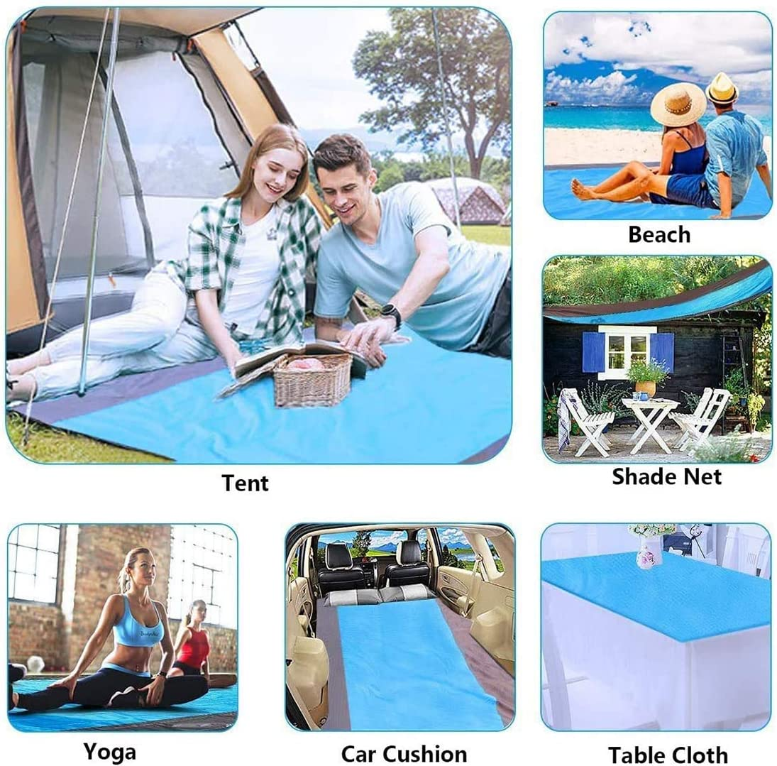 Outdoor Garden Camping Reorzon Sand Free Beach Mat Reinforced Edging Pocket Picnic mat for Beach Portable Waterproof Lightweight Beach Blanket Picnic Blanket 82 x 79 with 4 Fixed Nails Hiking