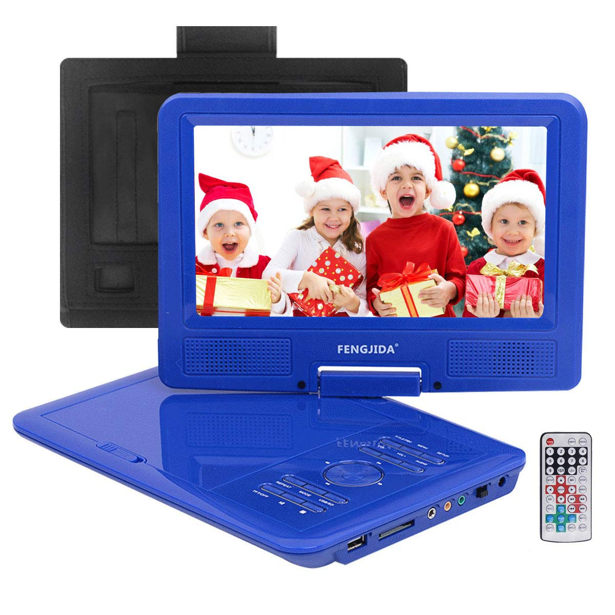 FENGJIDA 9.5'' Portable DVD Player, Car DVD Player with Headrest Mount, Swivel Screen, Built-in Rechargeable Battery, Remote Control, 5.9 ft Car Charger SD Card Slot and USB Port- Blue