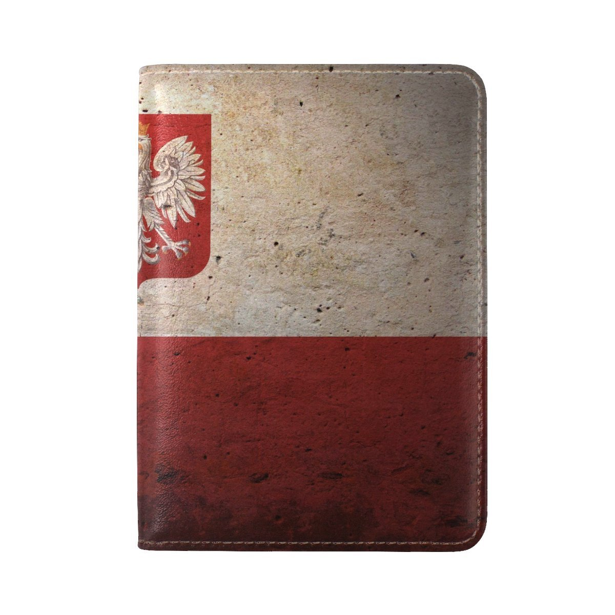 Flag Coat Of Arms Poland Symbols Texture Leather Passport Holder Cover Case Travel One Pocket
