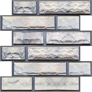 3D Wall Brick Sticker Waterproof Stone Art Wallpaper Self-Adhesive Brick Wallpaper Removable Wall Décor for Bathroom Bedroom Living Room Counter Countertop 6 Pack 11.8