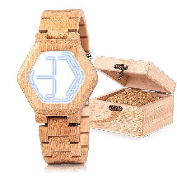 Reloj de pulsera para hombre, LED, digital, de madera de bambú, visión nocturna, diseño de mini relojes con pantalla de tiempo único: Amazon.es: Relojes