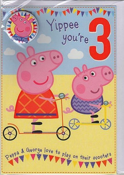 Peppa Pig - Tarjeta de felicitación para hija (3 años, incluye ...