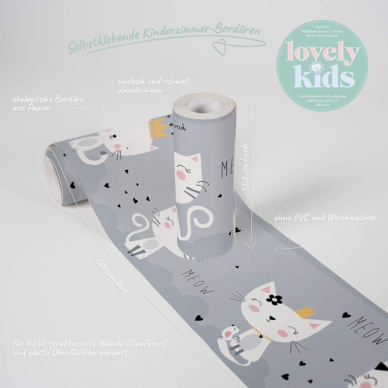 Cenefa adhesiva para habitaci/ón infantil dise/ño de gatos y gatos