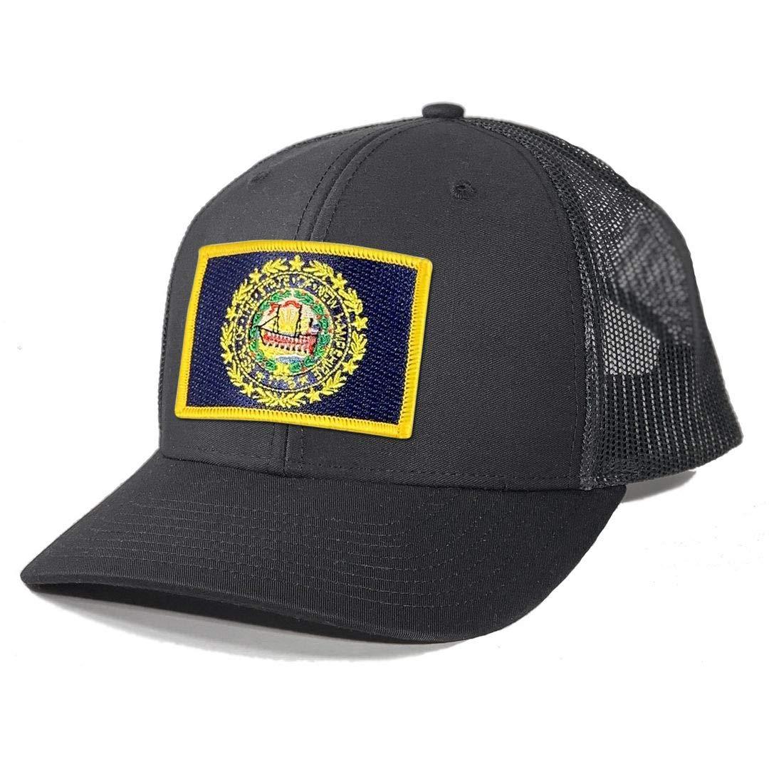 Homeland Tees Men's New Hampshire Flag Patch Trucker Hat - Black/Black by Homeland Tees