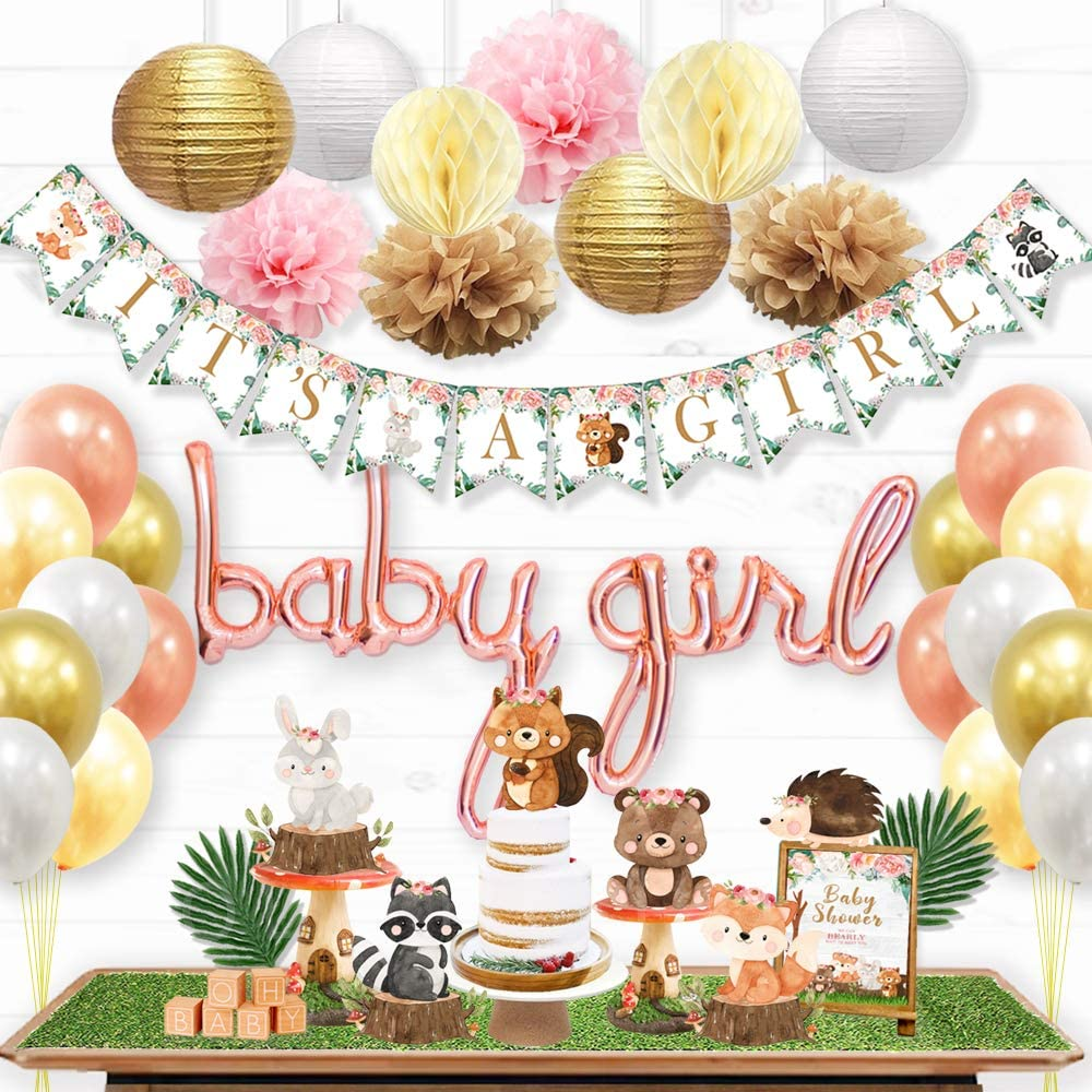 Ola Memoirs Woodland Baby Shower Decorations for Girl - Woodland Creatures It's A Girl Banner, Boho Floral Forest Animals Cutouts, Rose Gold Baby Girl Balloons, Pink, Khaki Pom Poms, Gold Lanterns