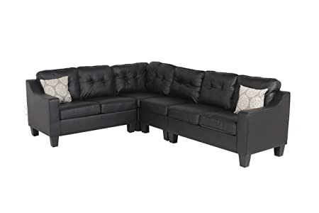 Oliver and Smith Fur_s295blackleather_Prime Sectional Sofa, Black