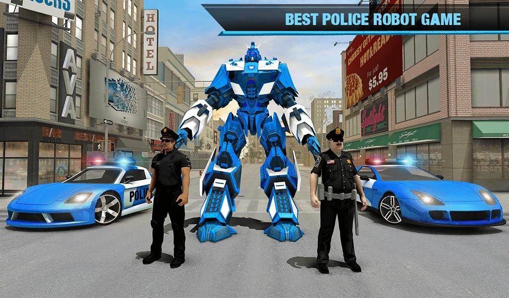Amazon com: US Police Transform Robot Car Transport Game