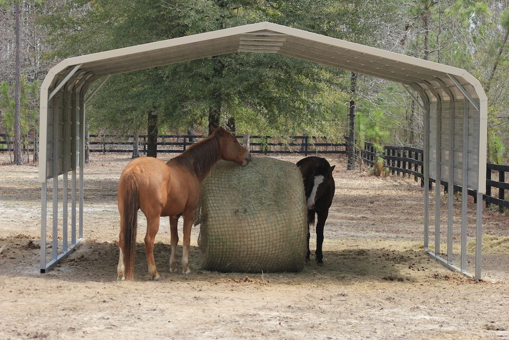 Freedom Feeder 5' Round Mesh Bale Net for Horse Feeder — Designed to Fit Over Large Round or Square Bale of Hay — Reduce Horse Feeding Anxiety and Behavioral Issues