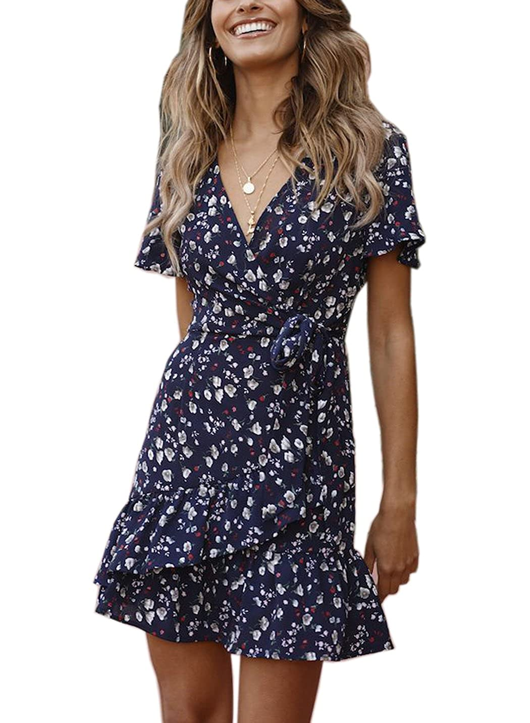 C121lanse FFLMYUHULIU Women's Vintage Deep VNeck Short Sleeves Floral Print Ruffles Hem Party Short Mini Dress
