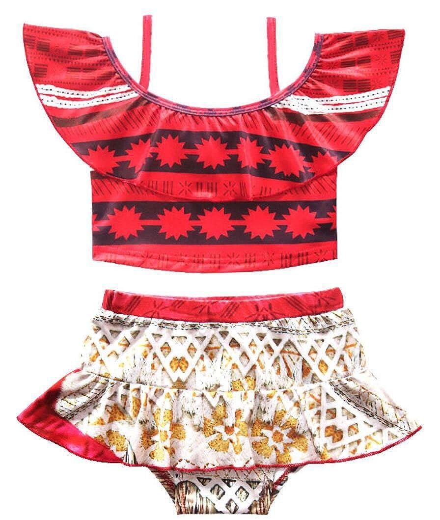 wildwalk Baby Girls Princess Moana Swimsuit Two Piece Off Shoulder Bikini Set ChildBikini_035