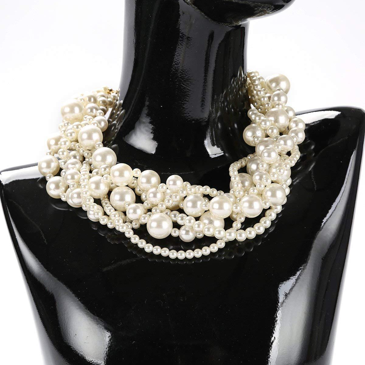 We We Fashion Imitation Pearl Necklace Choker Chunky Statement Bib Necklace