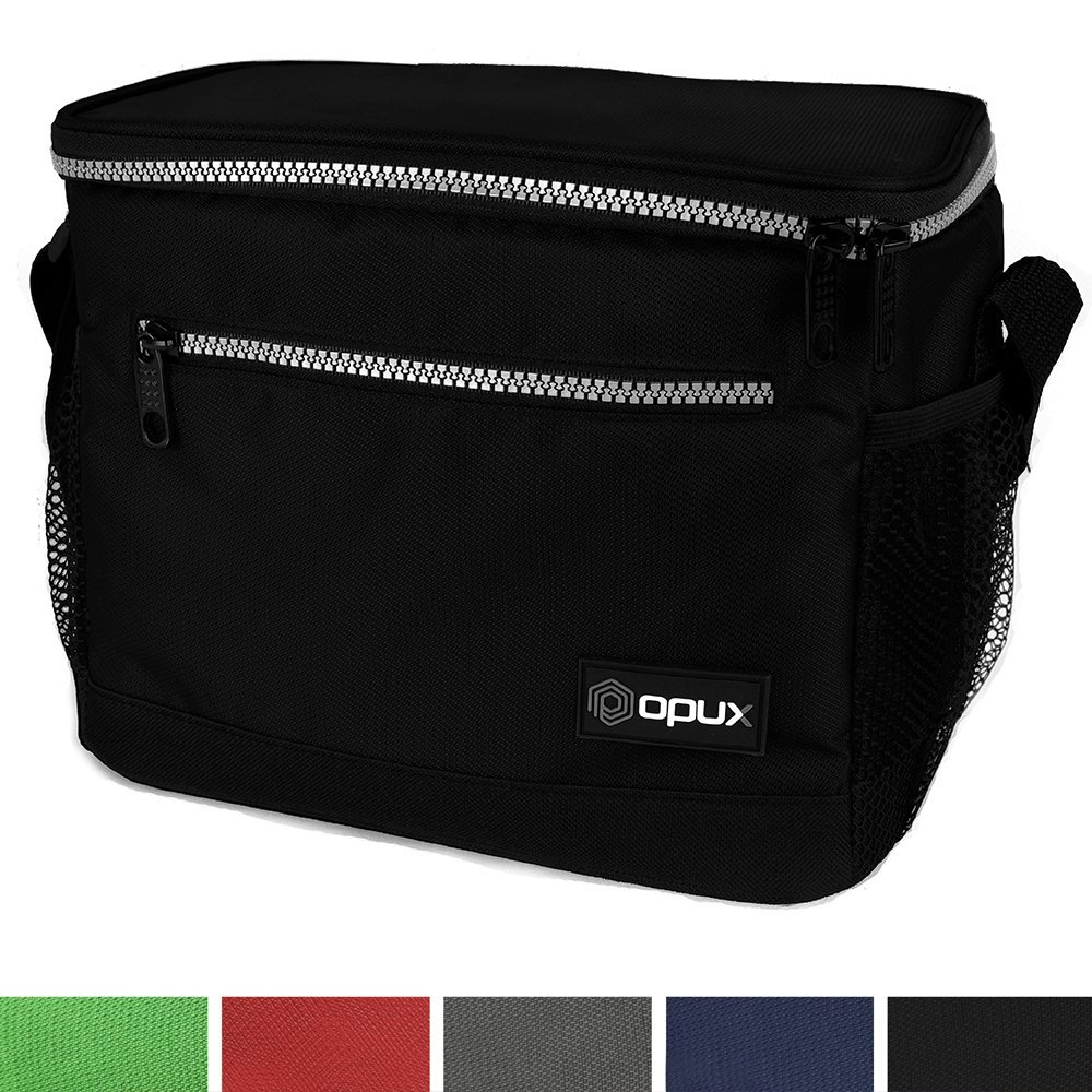 OPUX Premium Insulated Lunch Bag with Shoulder Strap | Lunch Box for Adults, Kids | Soft Leak Proof Liner | Medium Lunch Cooler for Office, School | Fits 6 Cans (Black)