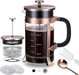 French Press Coffee Maker (34 oz) with 4 Filters - 304 Durable Stainless Steel,Heat High-Quality Resistant Borosilicate Glass Coffee Pot Percolator, BPA Free, (Brown)