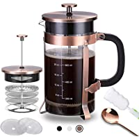French Press Coffee Maker (34 oz) with 4 Filters - 304 Durable Stainless Steel,Heat High-Quality Resistant Borosilicate…