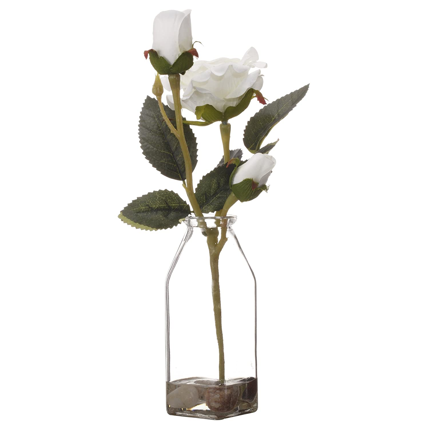 225 & V-More Square Clear Glass Bottle Flower Vase Artificial Silk Flowers in Acrylic Faux Water 6.1-inch Tall For Home Decor Wedding Party Celebration (set ...