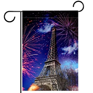 Eiffel Tower Paris France With Fireworks Garden Flag, Double Sided Garden Outdoor Yard Flags for Summer Decor 28x40 Inch