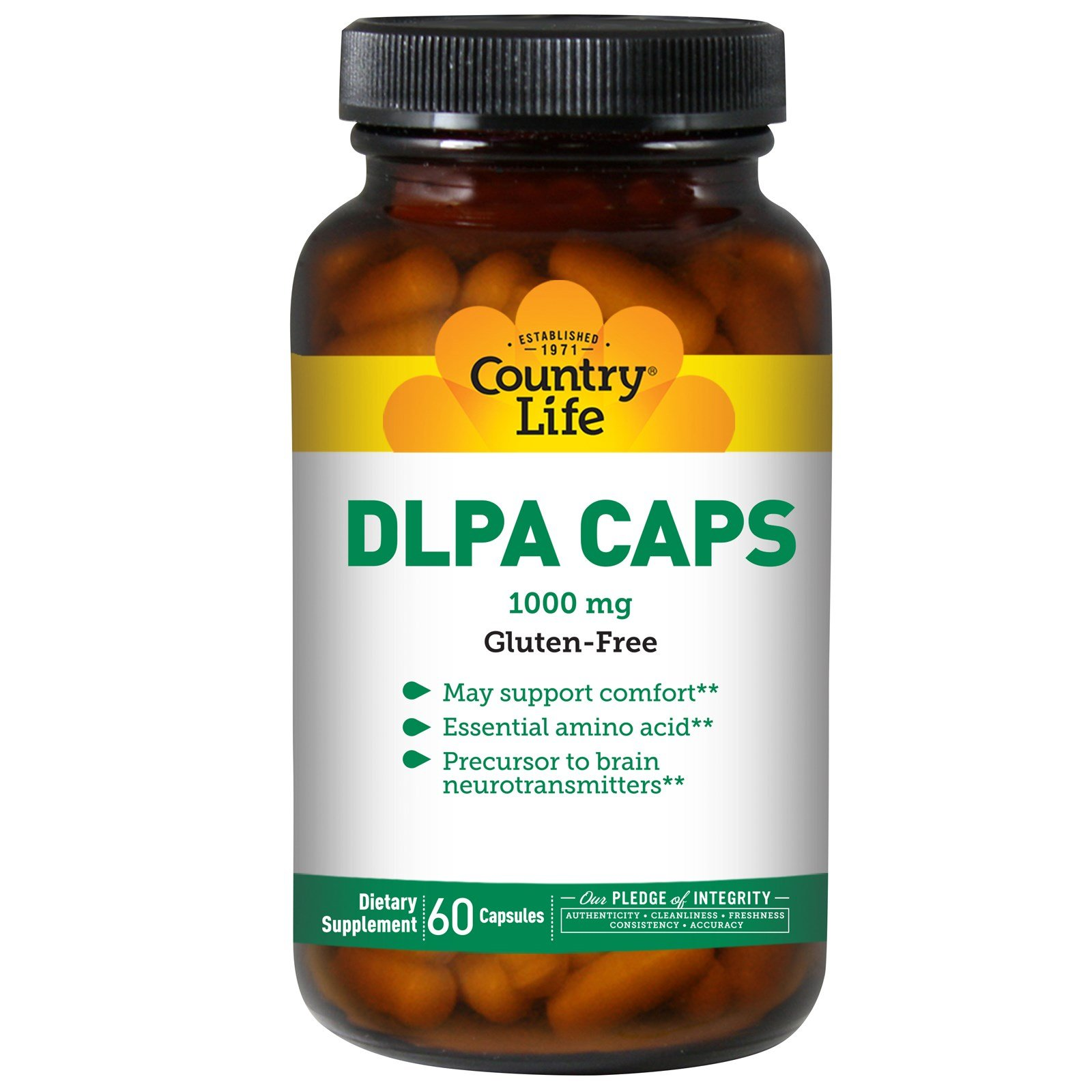 Country Life - DLPA Caps, 1000 mg with B-6 - 60 Capsules