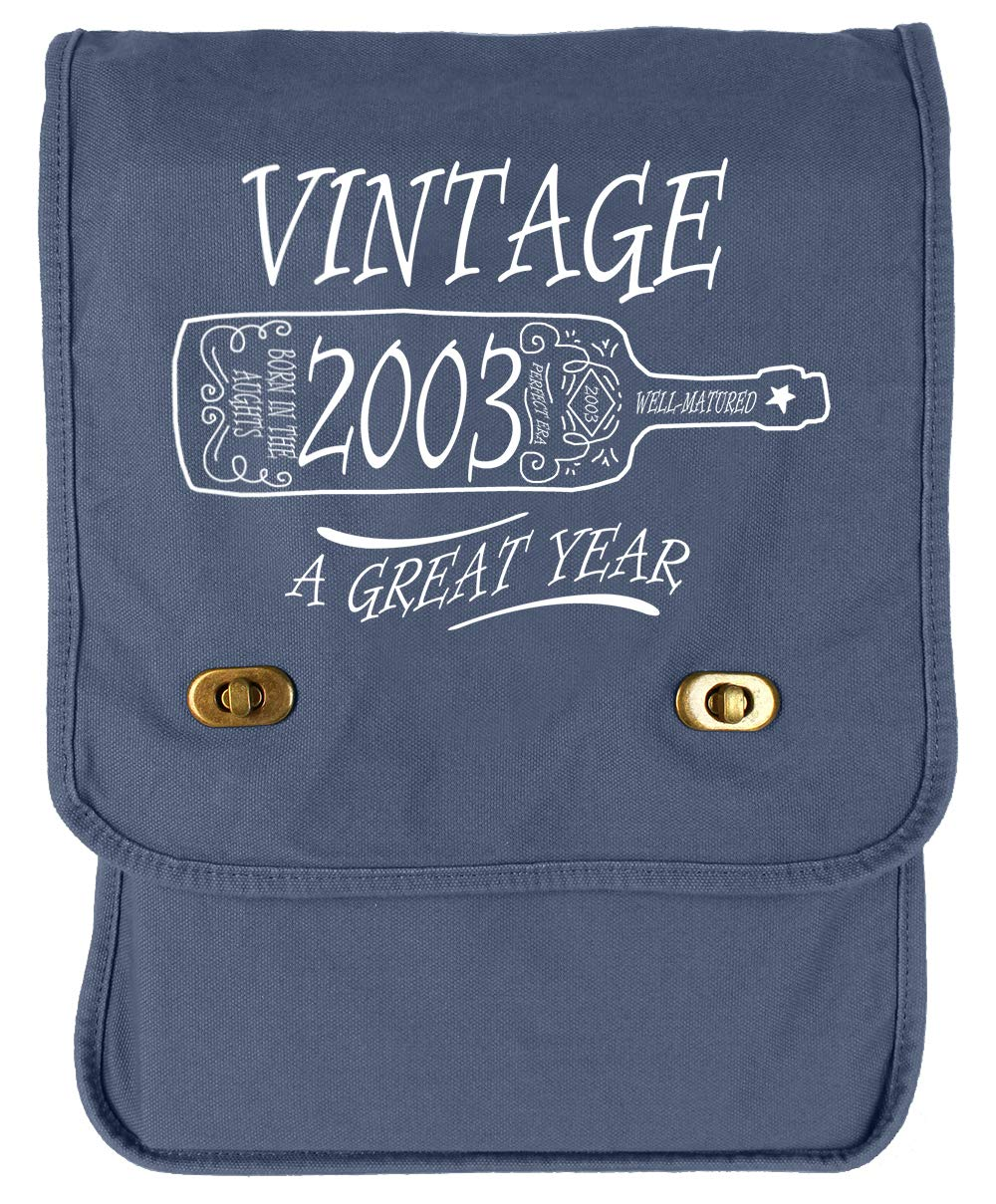 Tenacitee Aged Like a Fine Wine 2003 Grey Brushed Canvas Messenger Bag