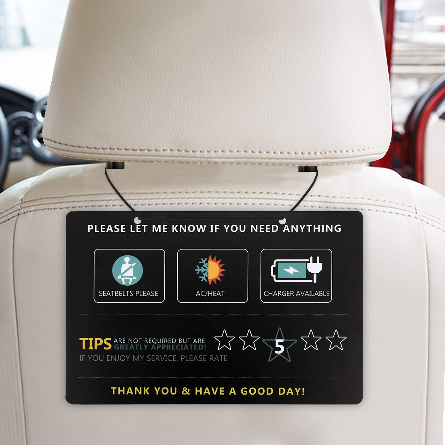 Durable Laminate Set of Two Rideshare Uber Lyft Tip and Rating Hanging Signs