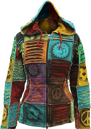 TALLA XL. Shopoholic Moderno Mujer Duende Hippy EMO Gótico Sudadera con Capucha Hippy Jersey Boho Cárdigan