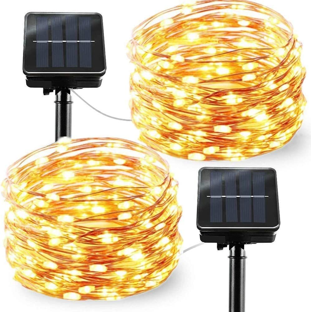 Chinety Upgraded Solar Powered String Lights, 2 Pack 8 Modes 50 LED Solar Fairy Lights Copper Wire Lights Waterproof Starry Fairy Christmas Decorative Lights for Outdoor, Wedding, Party (Warm White)