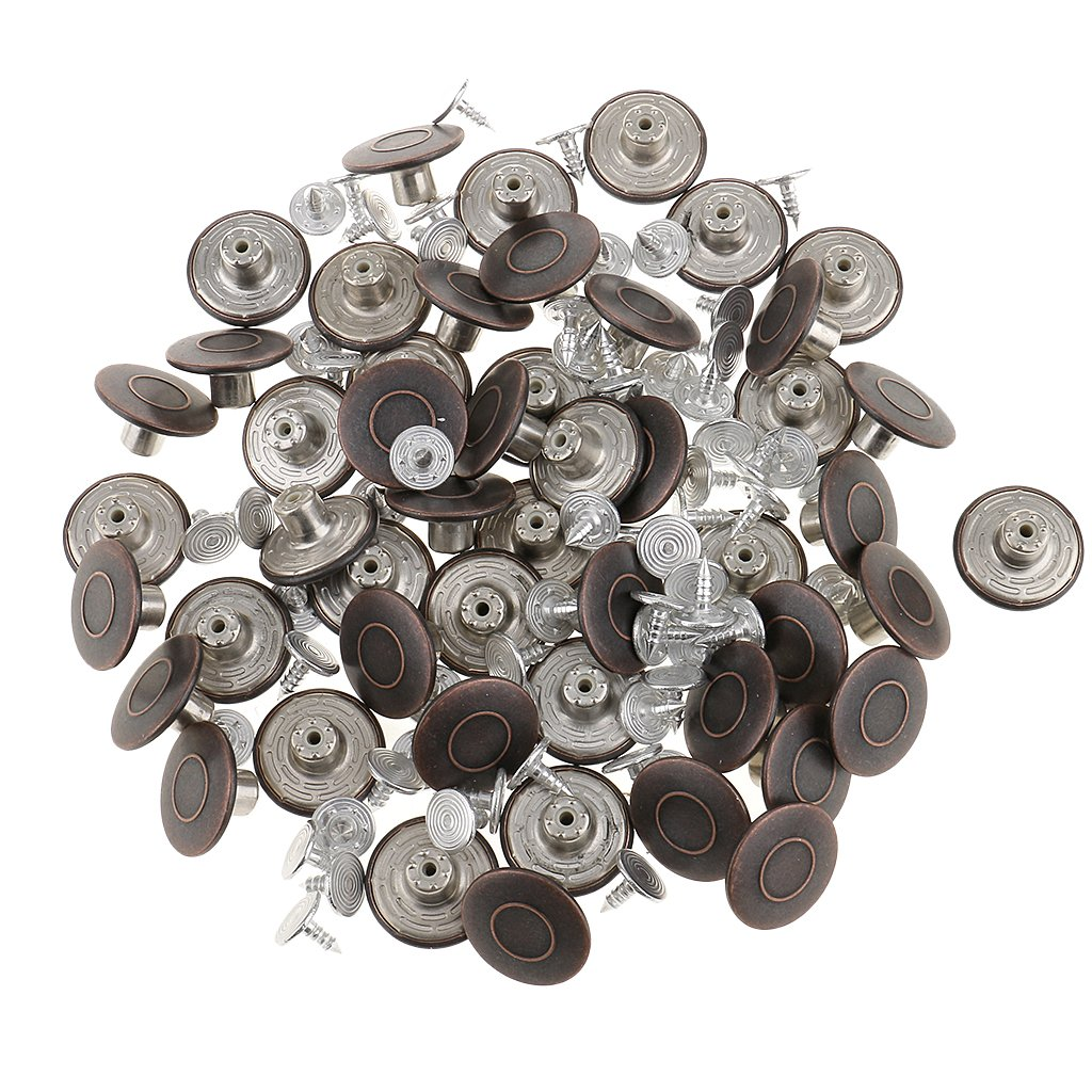 MonkeyJack 50 Pieces 18mm Jeans Buttons Jean Tack Button Antique Bronze Jacket Buttons Kit with 50 Pieces Rivets #3