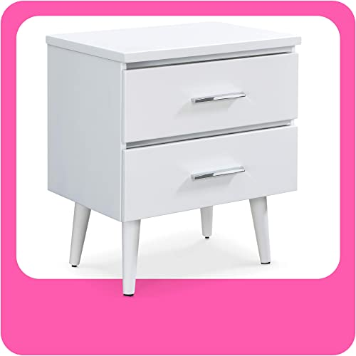 Adore D cor Lennox Mid-Century Side Table 2 Drawers Storage Nightstand