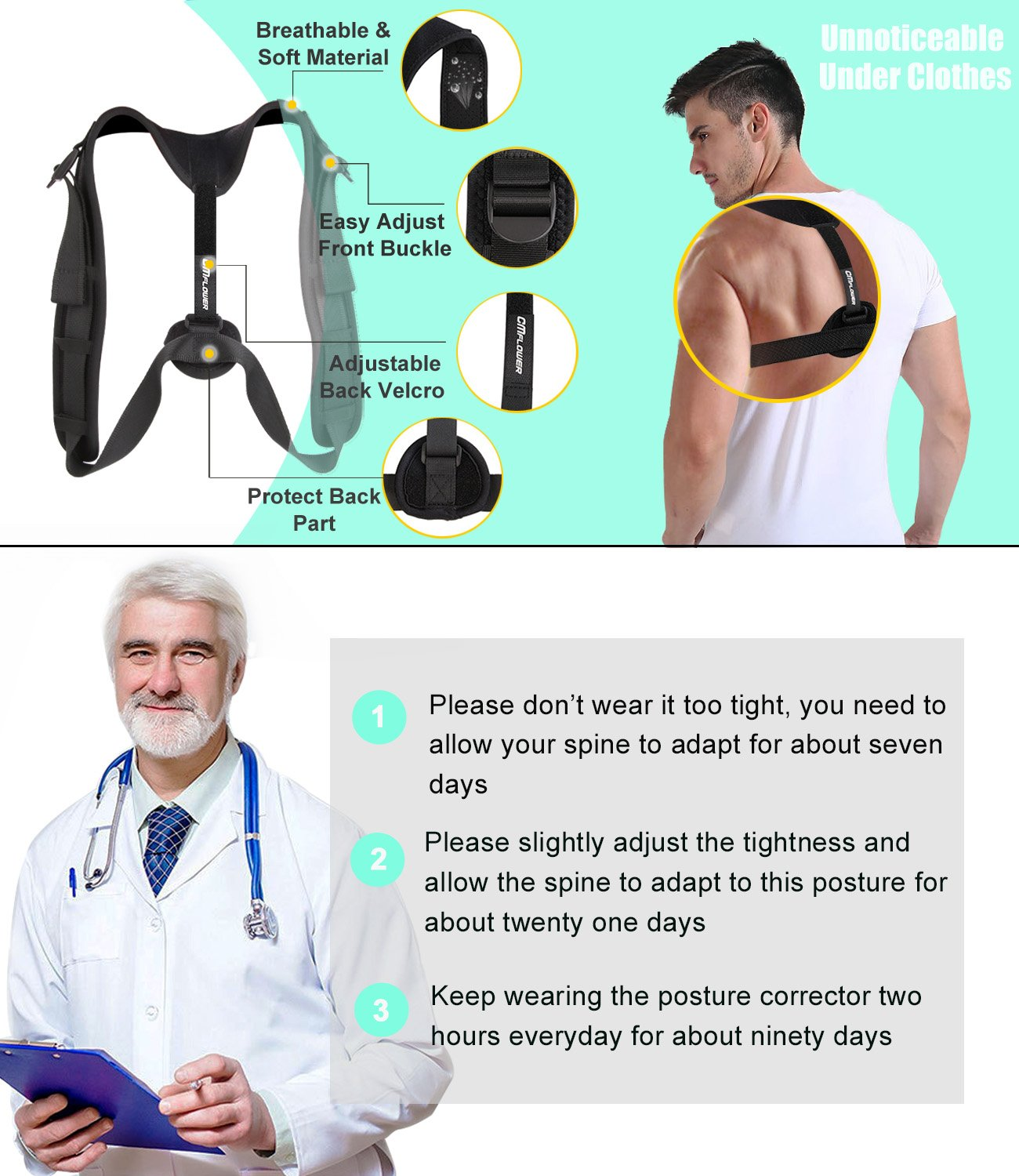 CMflower Posture Corrector 2018 New Easy Adjust Buckle Design Unnoticeable Back Brace with Yoga Strap and Carry Bag Breathable Soft Material for Men Women Kids to Correct Hunching Slouch Bad Posture by CMflower (Image #5)