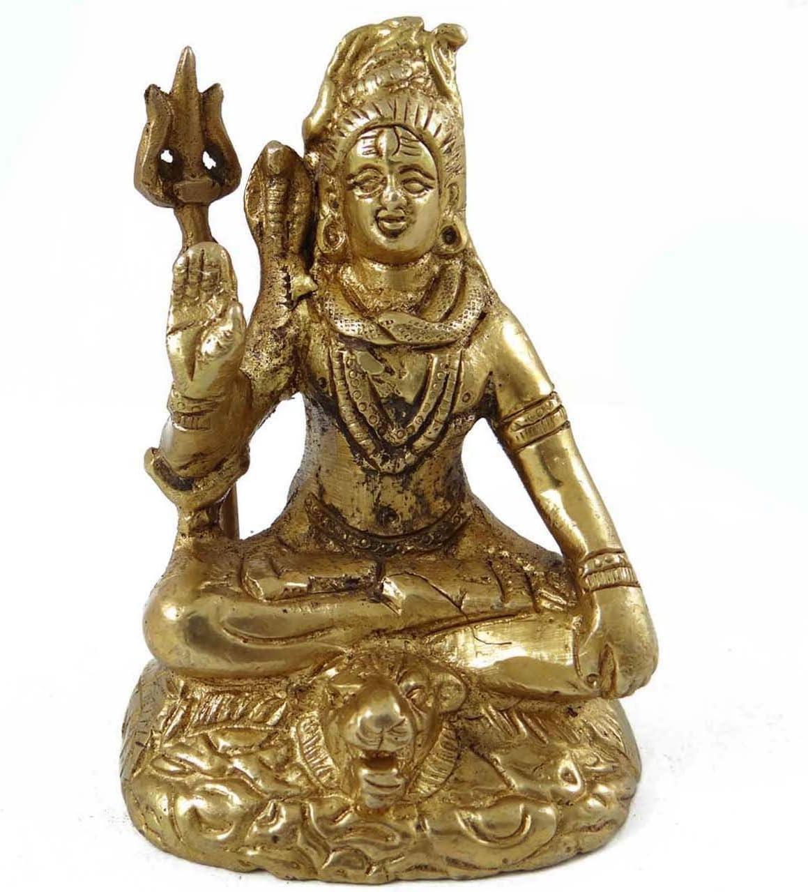 Lord Shiva ゴールドen壁装飾真鍮メタルFigurine従来の装飾アート
