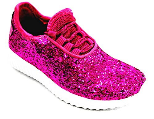 9d629d5d9 Amazon.com | Forever Link Remy-18k Kids Todddler Girls Fashion Sneaker  Glitter Flat Lace Up Shoes (7 M US Toddler, Fuchsia-18) | Sneakers