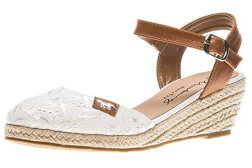 Mustang Alpargata de Material Sintético Mujer, Color Blanco, Talla 45 EU: Amazon.es: Zapatos y complementos