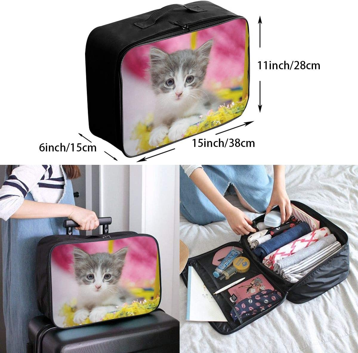 Cute-kitten-cat Travel Carry-on Luggage Weekender Bag Overnight Tote Flight Duffel In Trolley Handle
