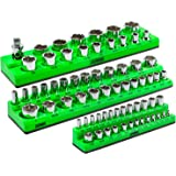 ARES 60037-3-Piece Set SAE Magnetic Socket Organizers -GREEN - Includes 1/4 in, 3/8 in, 1/2 in Socket Holders - 75 Pieces of