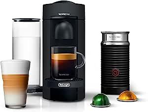 Nespresso VertuoPlus Coffee and Espresso Machine Bundle with Aeroccino Milk Frother by De'Longhi, Black Matte