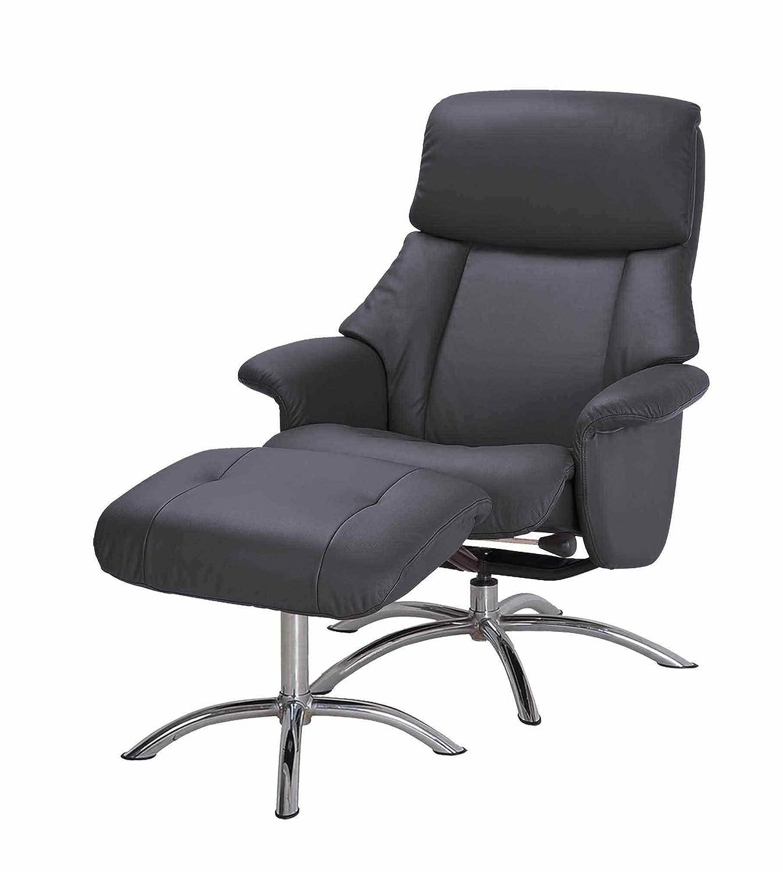 PKLine Relaxsessel DRAM in schwarz mit Fußschemel Liege Sessel Leder