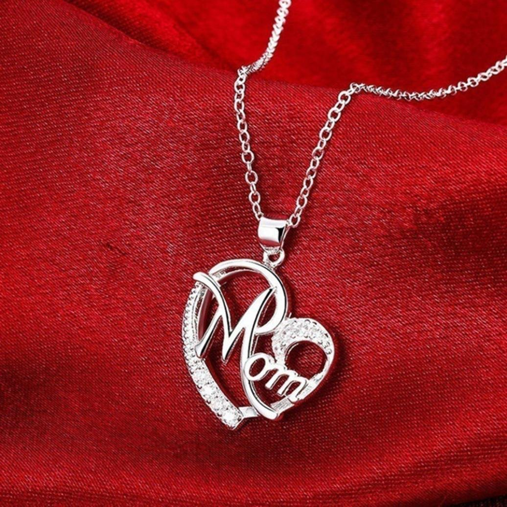 Silver Sacow Exquisite Mom Letter Love Shaped Diamond Necklace Pendant Necklace for Women