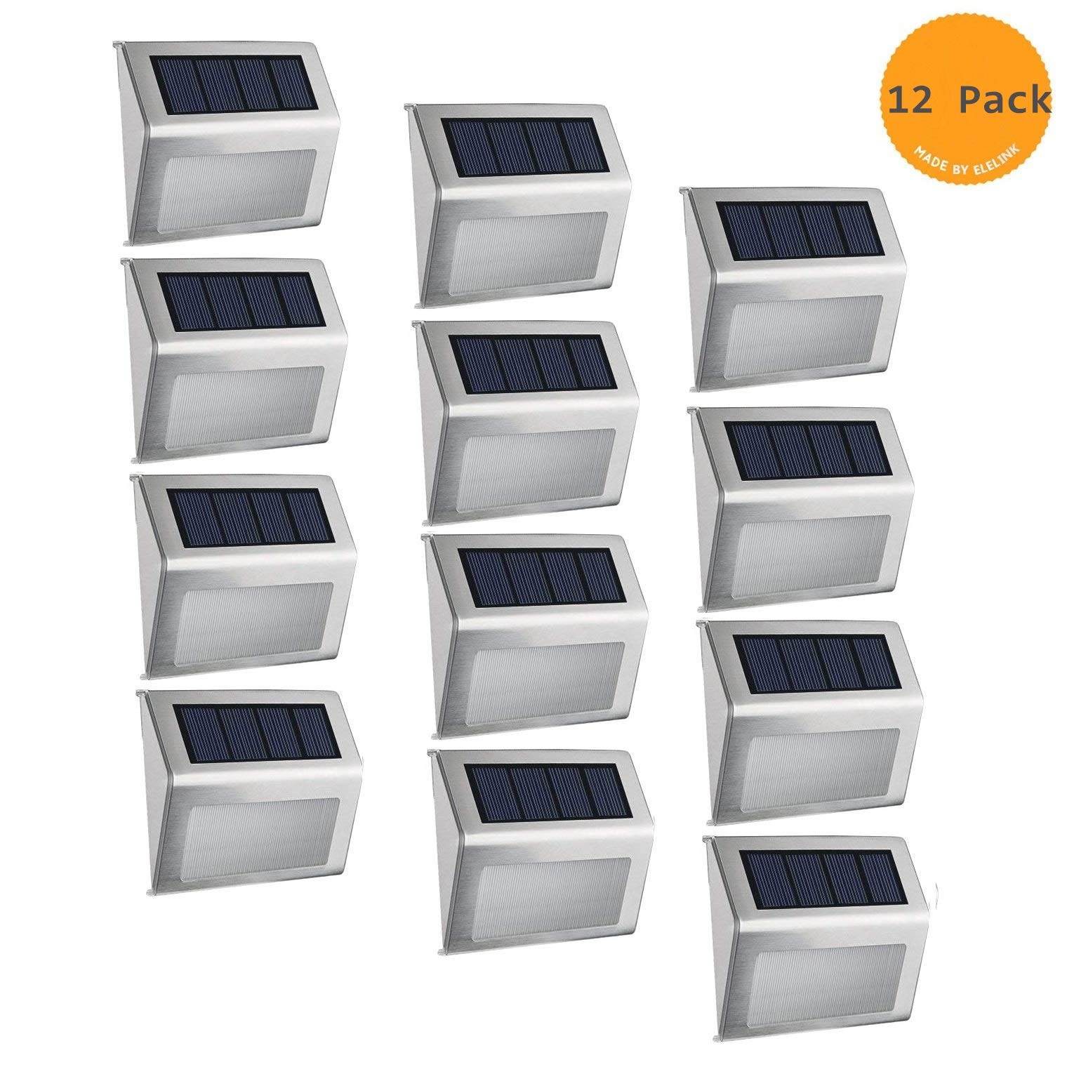 Solar Fence Post Lights,Elelink Outdoor Stainless Steel LED Solar Step Lamp; Illuminates Stairs/Path/Landscape/Garden/Floor/Wall/Patio Lamp, Waterproof (12 Pack) by ELELINK