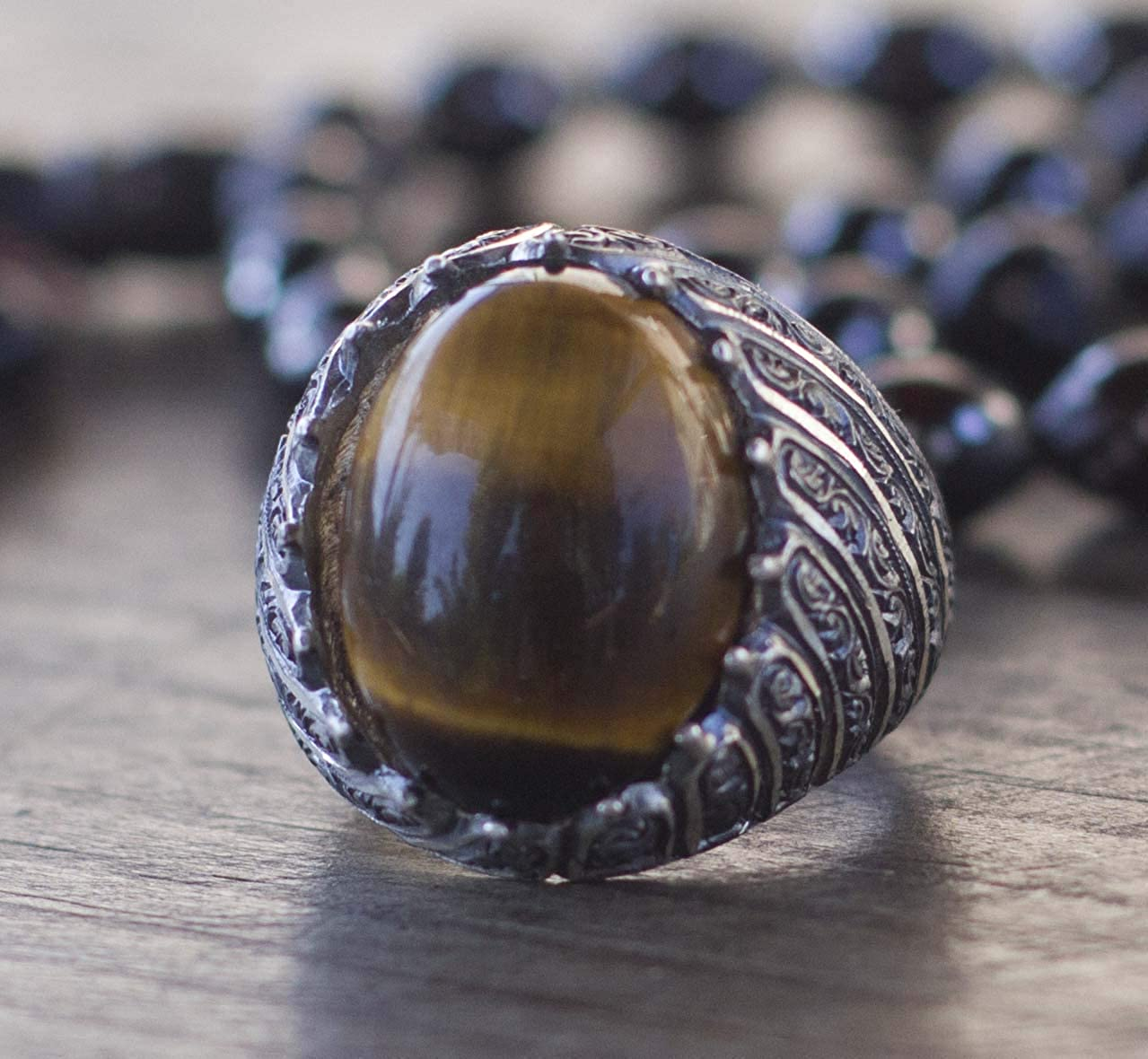 Free Express Shipping Falcon Jewelry 925 Sterling Silver Mens Ring Steel Pen Craft Tiger-Eye Natural Gemstone
